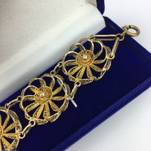 Load image into Gallery viewer, Vintage solid silver gold plated Portugal filigree bracelet