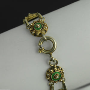 Antique 18thC solid silver Guilloche Enamel gold plated bracelet chain France 950