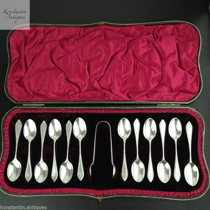 Antique 1901 sterling silver spoons set 12 and tongs London A