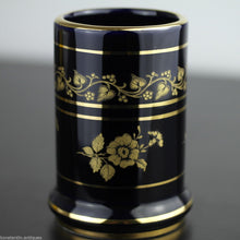Load image into Gallery viewer, Vintage hand made 24ct Gold plated pottery tankard mug Greek blue solid gift