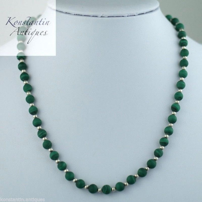 Vintage malachite and solid silver beads necklace 925 sterling