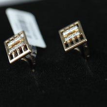 Load image into Gallery viewer, Classic 14k gold cufflinks with 12 Cubic Zirconia