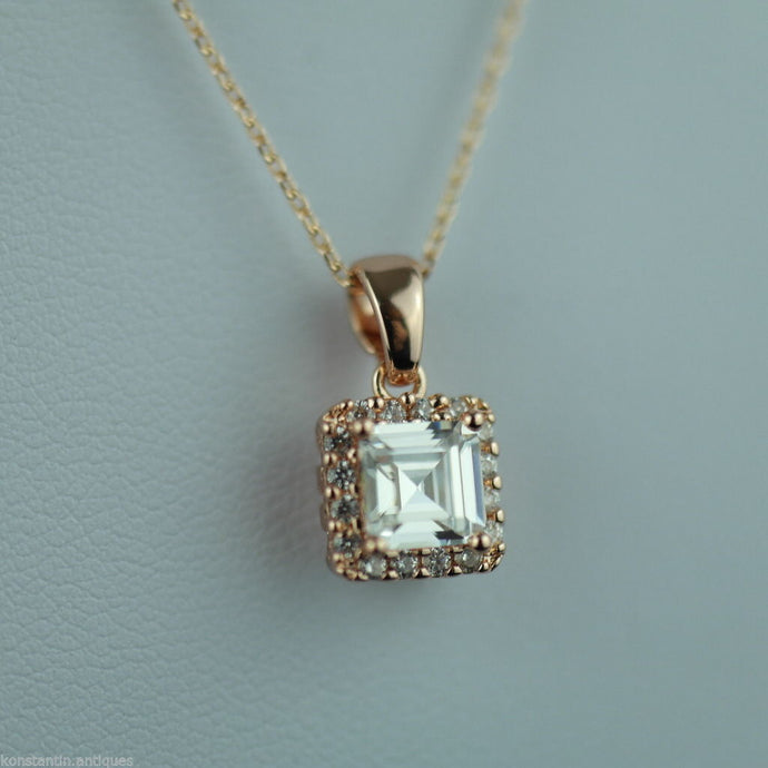 Stunning Gold Over sterling silver Clear stone pendant on chain 925 Genevive