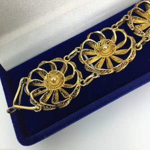 Vintage solid silver gold plated Portugal filigree bracelet