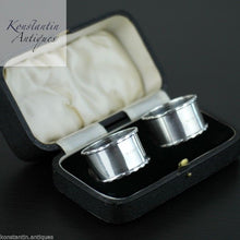 Load image into Gallery viewer, Antique 1937 solid silver napkin rings set of 2 two box Sheffield