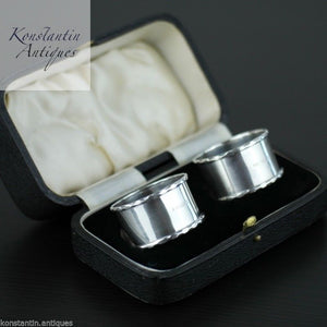 Antique 1937 solid silver napkin rings set of 2 two box Sheffield