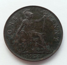 Load image into Gallery viewer, Vintage 1927 coin one penny George V of British Empire London 20thC