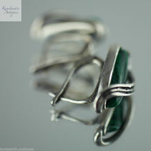Load image into Gallery viewer, Vintage malachite and sterling silver earrings stunning