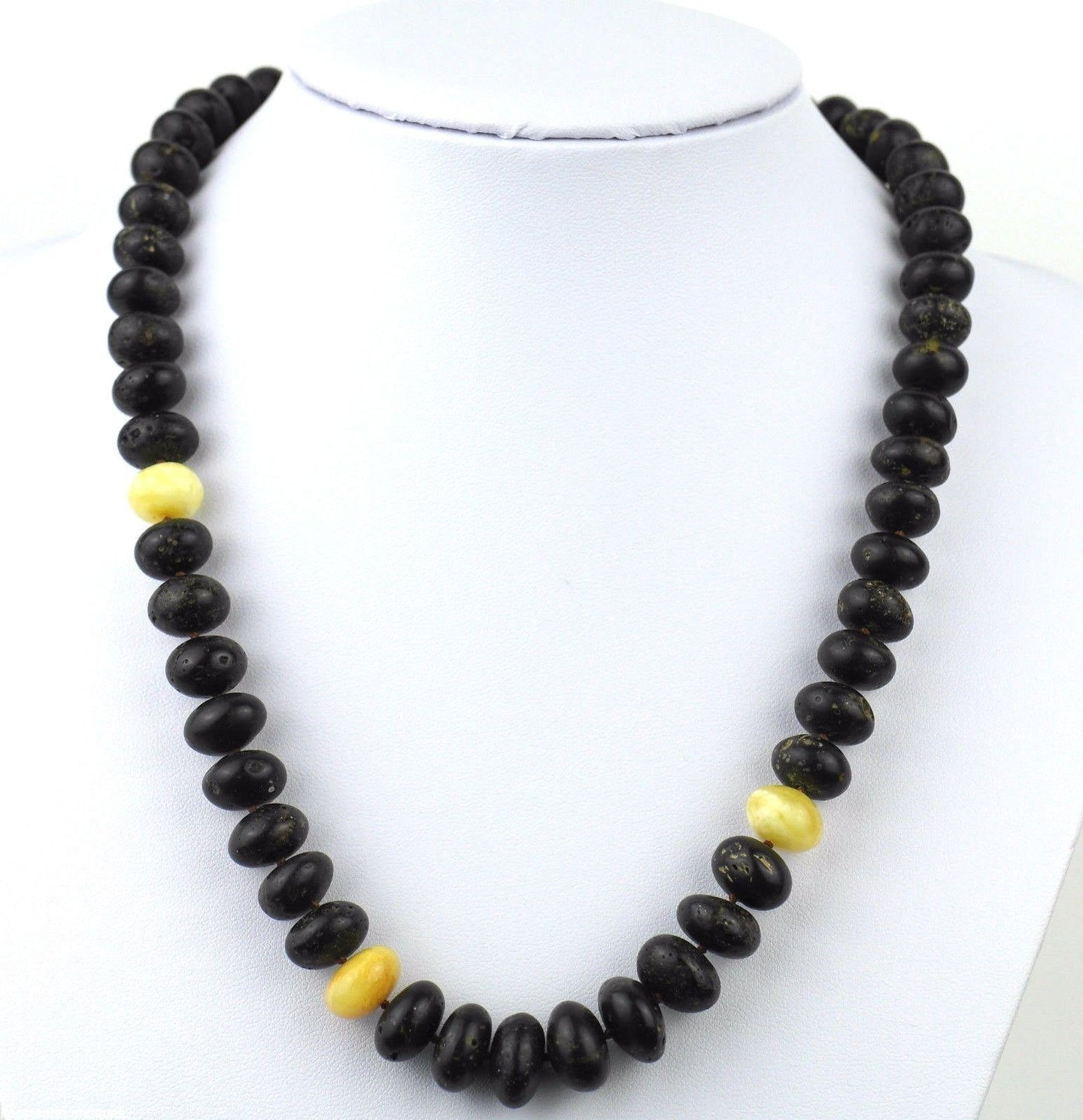 Polished raw Baltic Amber beads necklace White egg yolk earth blood