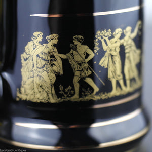 Vintage handmade 24ct Gold plated pottery tankard mug Greek black