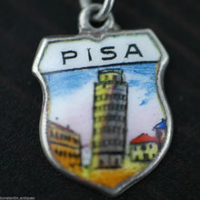 Load image into Gallery viewer, Vintage Pisa enamel 800 REU silver charm pendant Italy