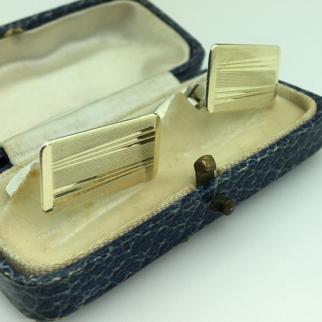 Vintage gold plated solid silver ornamented cufflinks Denmark 830 S ALCH boxed