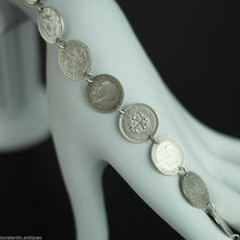Antique 1908 - 1937 silver coins bracelet chain King George V of British Empire