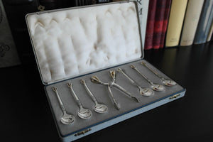 Vintage sterling silver set six spoons plus tongs Denmark W&S Sorensen in box