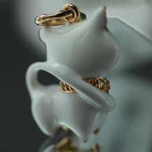 Load image into Gallery viewer, Gold Plated Sterling silver pendant white Enamel Cat with encrusted collar band