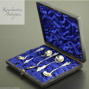 Antique Victorian 1883 sterling silver gold plated Apostle spoons 4+1 set boxed