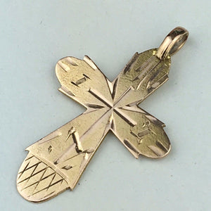 Antique 56 gold cross Russian Empire Orthodox pendant 14k