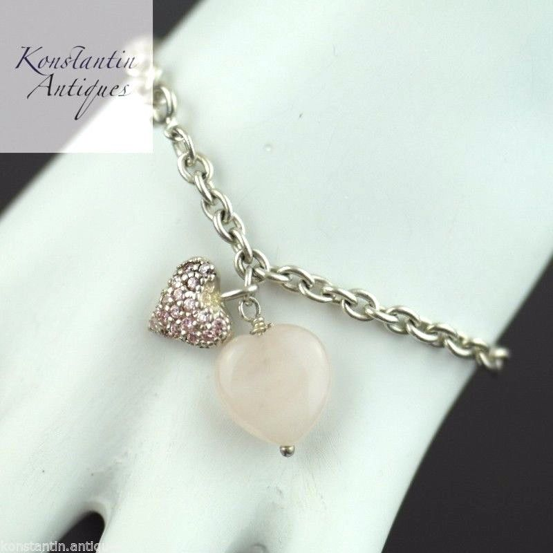 Sterling silver Bracelet chain with Rose Quartz Heart pendant