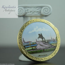 Load image into Gallery viewer, Vintage 1964 solid silver gold plated powder compact enamel porcelain 875 Russia