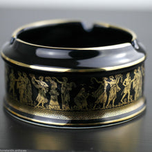 Load image into Gallery viewer, Vintage handmade 24ct Gold plate pottery ashtray Greek Royal blue