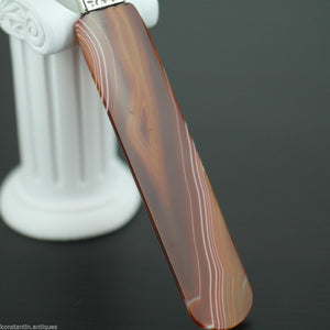Antique agate and solid silver letter opener page turner with Nacre handle