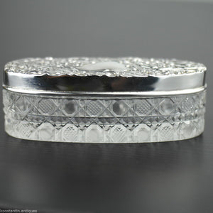 Antique 1903 sterling silver topped cut glass trinket box