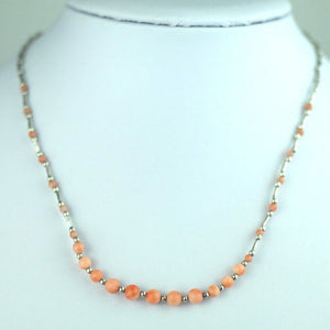 Vintage sterling silver and genuine coral beads necklace