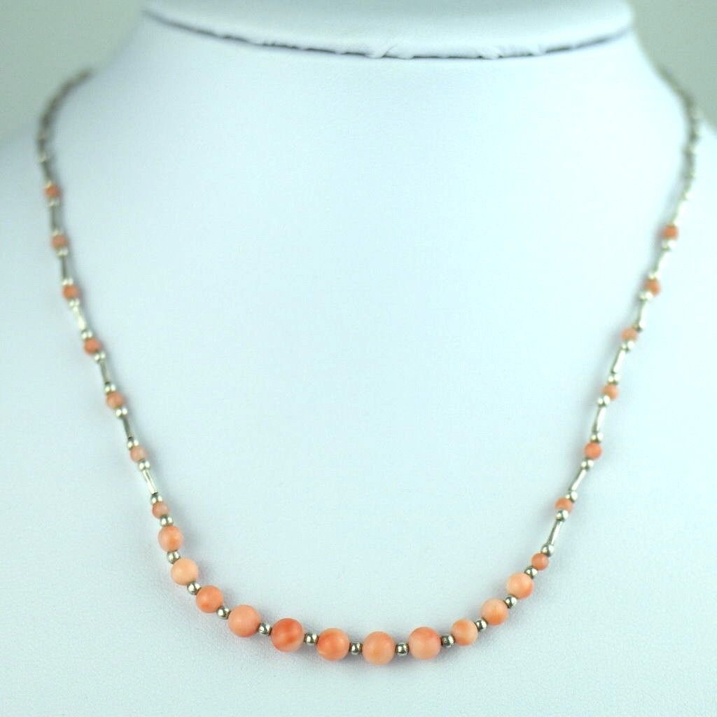 Vintage sterling silver and pink coral beads necklace