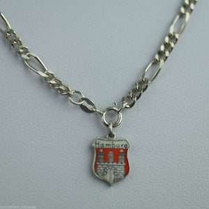 Antique sterling silver chain enamel pendant Hamburg Germany charm solid gift