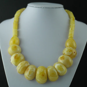 Elegant German Genuine Amber half beads necklace