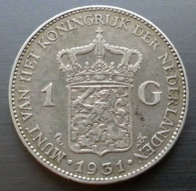 Vintage 1931 silver coin 1 gulden Queen Wilhelmina of the Netherlands 20thC