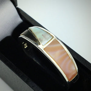 Vintage sterling silver ring with mop inlaid pink white abalone
