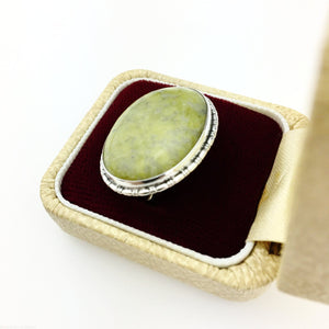 Vintage solid silver pin brooch with Iona marble cabochon gem England Sterling