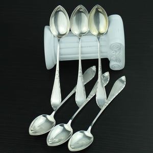 Antique set of six solid silver spoons 830s Scandinavian style Norway great gift