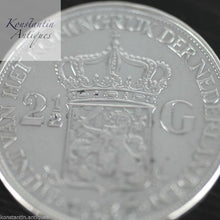Load image into Gallery viewer, Vintage 1937 silver coin 2.5 Gulden Queen Wilhelmina of the Netherlands 20thC
