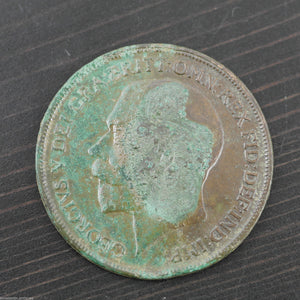 Antique 1914 bronze coin One penny George V British Empire with patina