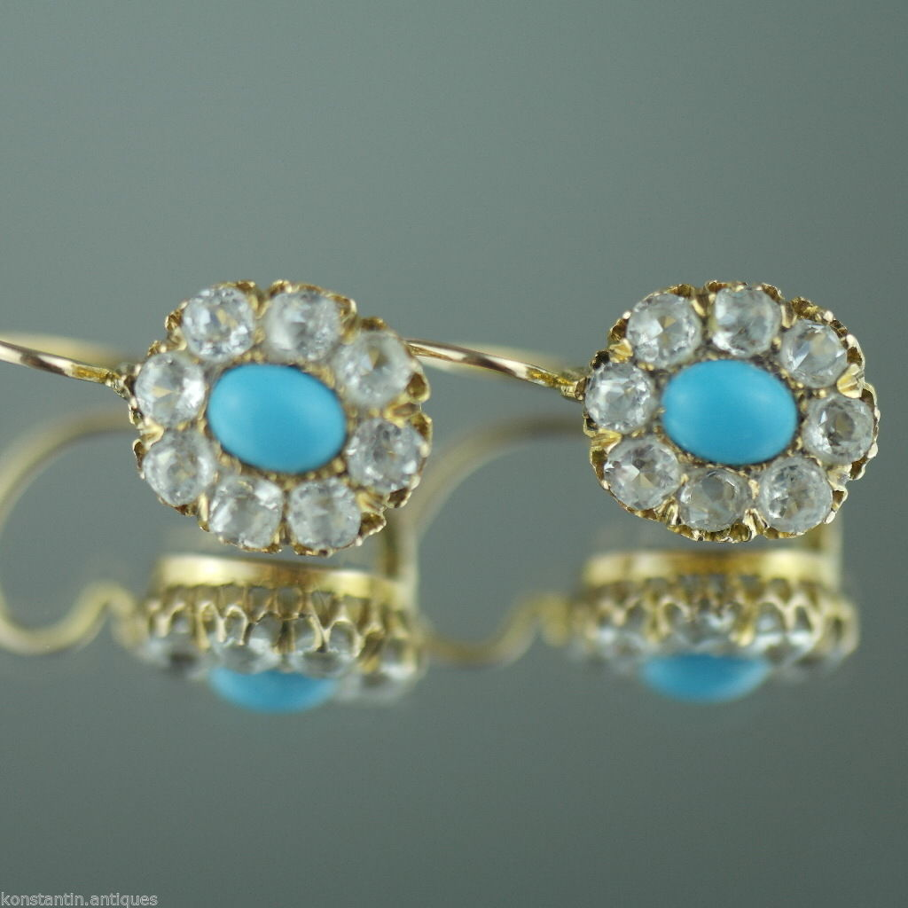 Antique Romanov 56 gold earrings Turquoise and Cubic Zirconia Russian Empire 14K