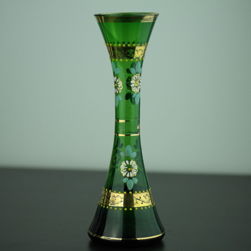 Antique gild green glass vase Bohemian style