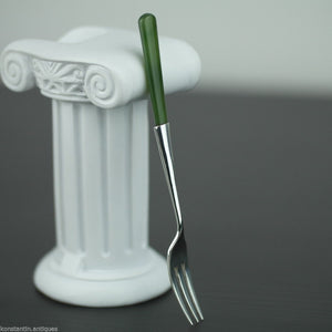 Antique 1900 sterling silver fork with green Jade Nephrite handle