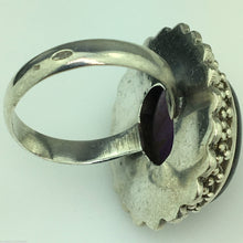Classic solid silver ring with huge cabochon purple amethyst gemstone