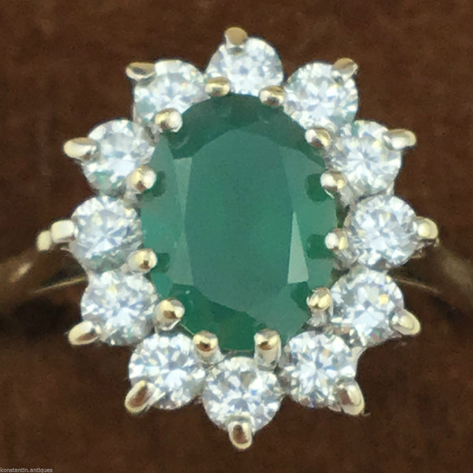 Green Agate and Cubic Zirconia cluster 9ct gold ring