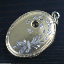 Load image into Gallery viewer, Vintage solid silver Locket pendant citrine gemstone charm gilt Russian В875