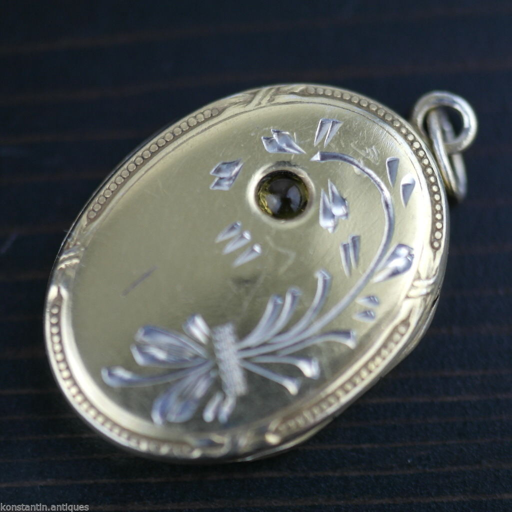 Vintage solid silver Locket pendant citrine gemstone charm gilt Russian В875
