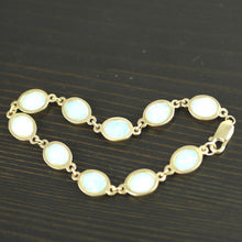 Load image into Gallery viewer, Vintage 375 yellow gold tennis bracelet 7.50ct white crystal Opal cabochon 9ct
