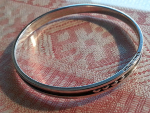Vintage Sweden Niello silver bangle stylish solid gift