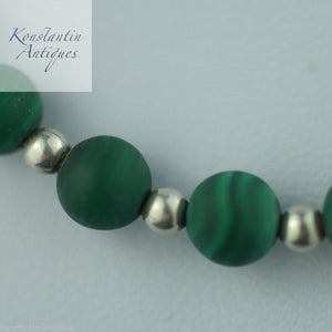 Vintage malachite and sterling silver beads necklace