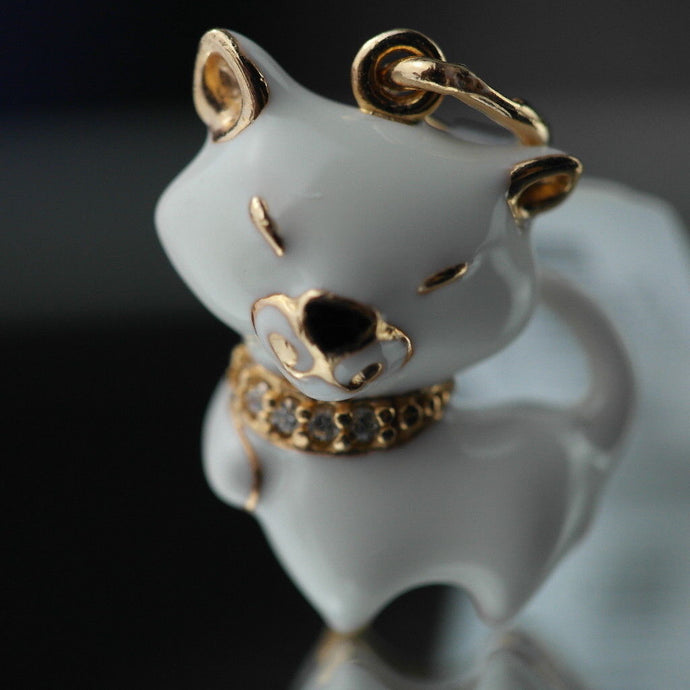 Gold Plated Sterling silver pendant white Enamel Cat with encrusted collar band