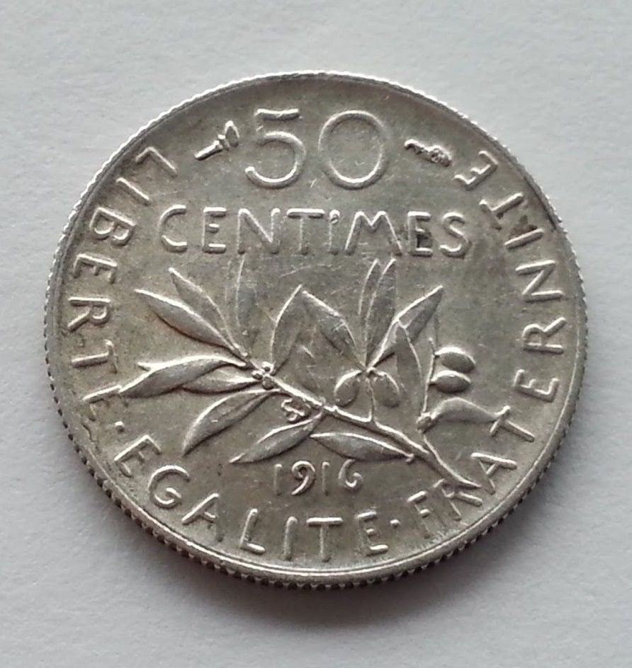 Antique 1916 silver coin 50 centimes Pr. Armand Fallières of the French Republic