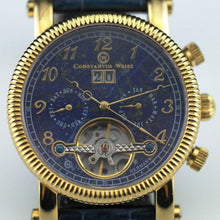 Load image into Gallery viewer, Automatic 35 jewels Open heart wrist watch Constantin Weisz Day Month Blue gild