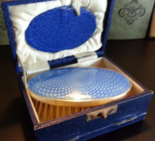 Load image into Gallery viewer, Vintage 1927 solid silver guilloche enamel brush Birmingham Myatt&Co Boxed gift
